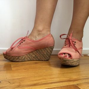 80%20 light red canvas lace up cork wedges
